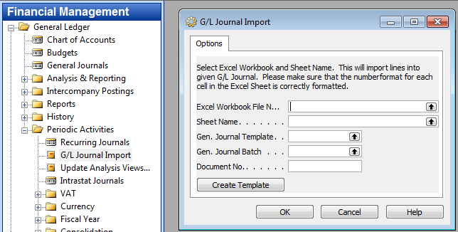 Import G/L Journal from Excel – Gunnar\'s Blog